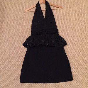 Vintage Bill Blass Sequin Halter Peplum Dress 0